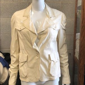 YSL creme leather jacket